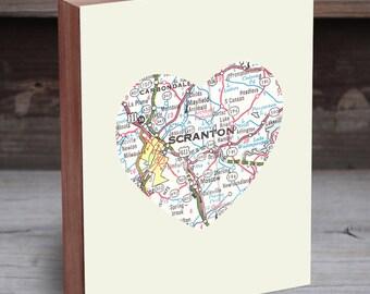Scranton PA - Scranton Map - Scranton Print - Scranton Art - Map Gifts - Map Heart Print - Map Wall Art - City Maps as Art