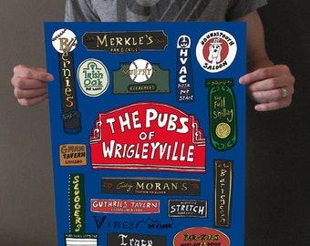 Wrigley Field Art - Wrigley Field Wall Art - Wrigley Field Print - Pubs of Wrigleyville - Wrigley Field Sign - Chicago Cubs Art