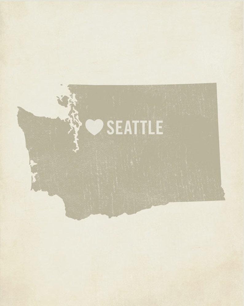 Wood Block Art Print Seattle Art I Love Seattle Seattle Seattle Washington Seattle Art Print
