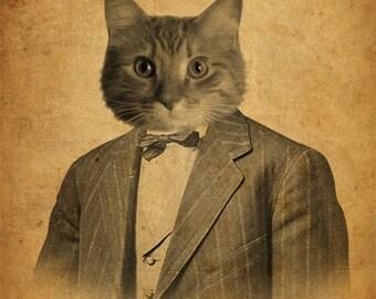 Cat in a Suit Portrait 8x10 Art Print