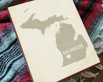 Kalamazoo Michigan - Kalamazoo Wall Art - Western Michigan - Kalamazoo Art - Kalamazoo Map - Kalamazoo College