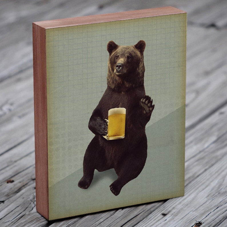 Bear Drinking Beer  Bears Love Beer  Beer Art  Beer Art image 0