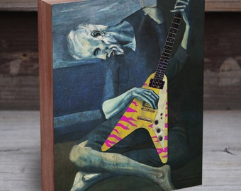 Pablo Picasso Old Guitarist with Electric Flying V Guitar