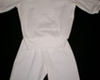 White Ribbed Knit Sweatsuit - Size 9 Months