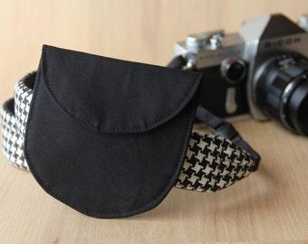 Lens Cap Holder for DSLR Camera Strap - Solid Black - Ready to Ship