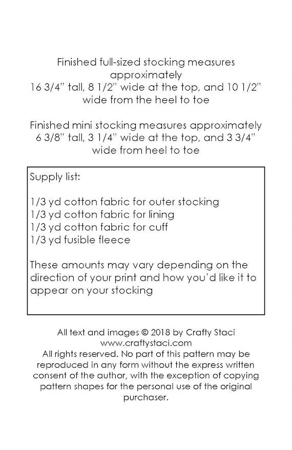 Lined Christmas Stocking Sewing Pattern with bonus Mini   Etsy