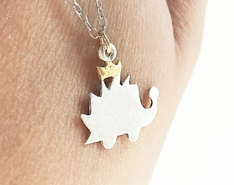 Gold Hedgehog Crown Necklace Sterling Silver 22 Karat Gold Layer Hedgie Dainty Layering Matte Mixed Metals Necklace