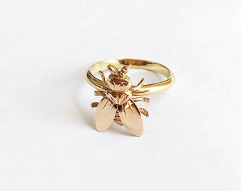 Vintage 18 Karat Gold Fly Ring Bug Conversion Ring Whimsical Statement Piece Insect Victorian Art Nouveau Size 6