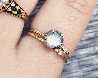 14 Karat Gold Silver Moonstone Ring Georgian Inspired Bezel Set Rose Cut Moonstone Gemstone Solitaire Stacking Layering Mix Metal Minimalist