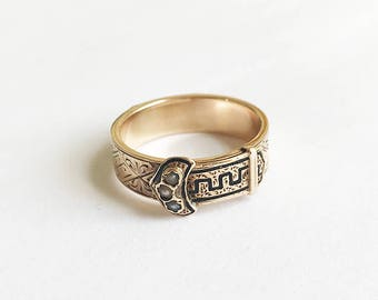Antique Victorian 14 Karat Gold Buckle Enamel Mourning Ring Pearls Secret Compartment Ring In Memory Of Memorial Ring Hair Locket Size 6.5