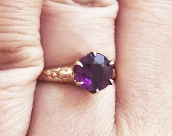 Antique Art Deco Rose Gold Filled Amethyst Ring Glass Stone Synthetic Amethyst Purple Repousse Floral Shoulders High Prong Set Size 5