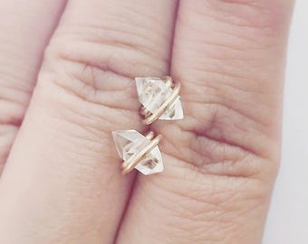 14 Karat Gold Herkimer Diamond Studs Large Earring Minimalist Crystal Gem Stone Pierced Dainty 14 K Filled (Pair)