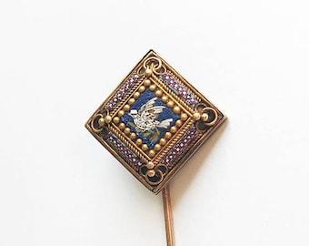Antique Victorian 10 Karat Yellow Gold Micro Mosaic Dove Bird Stick Pin Glass Conversion Project Colorful Nature Pin