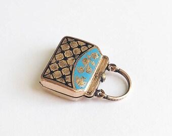 Antique Victorian Gold Enameled Mourning Purse Locket Charm 10 Karat Rose Gold Front and Back Blue Black Enamel Forget Me Nots Hair Locket