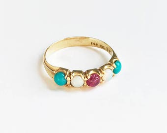 Vintage 14 Karat Yellow Gold Half Hoop Ring Turquoise Ruby Opal Band Stacking Ring Layering Cabochon Gemstone Blue Victorian Inspired Size 6