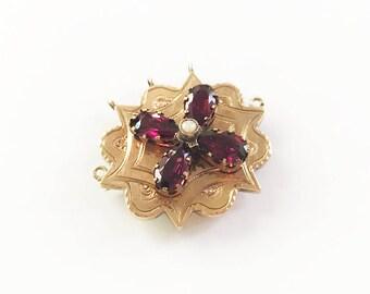 Antique Victorian 10 Karat Rose Gold Garnet Pendant Brooch Pearl Gemstone Engraved Pear Cut Statement Red Pink Garnets