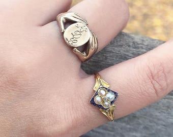 Antique Victorian 14 Karat Gold Blue Enamel Pearl Diamond Mourning Ring Memorial Ring Natural Pearls Diamond Ring Size 8.25