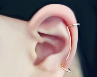 Ear Cuff Gold Filled 14 Karat Double Cuff Double Minimalistic Line Ear Wrap Earcuff (Single)