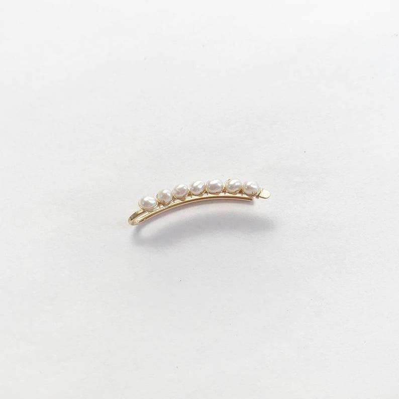 14 Karat Gold Filled White Pearl Ear Climber Earring Pin Freshwater Pearls Ear Wrap Long Bar Pierced 14 K Single or Pair