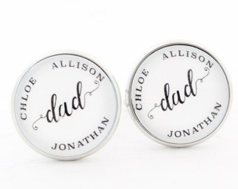 Personalized Cufflinks, Dad Gift from Daughter, Gift from Son, Dad Cufflinks, Personalize Cufflinks, Personalise Cufflinks with Kids Names