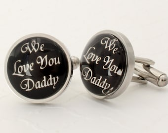 Son to Father Gift, Daughter to Father Gift for Christmas, Dad Cufflinks, Gift from Grandkids, Dad Gift from Daughter, Cuff links for Dad