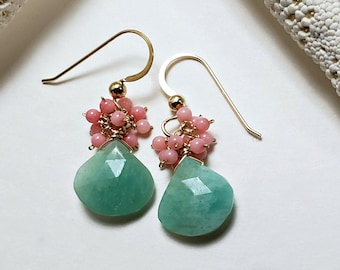 Peach Coral Amazonite Earrings,  Peach Mint Earrings, Mint Coral Earrings, Aqua Peach Dangle