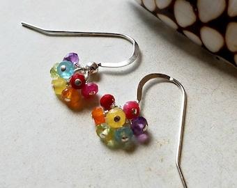 Mini Rainbow Earrings, Tiny Rainbow Cluster, Chakra Gemstone Earrings:  Ready Made