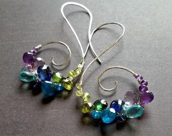 Peacock Hoop Earrings, Peacock Gemstone Spiral, Gemstone Spiral Hoops: Ready Made