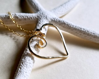 7cbc2d8c2e20 Hammered Heart Necklace