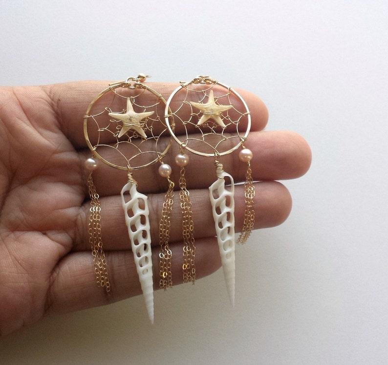 Starfish Hoop Earrings Starfish Dream Catcher Beach Dream Catcher Earrings