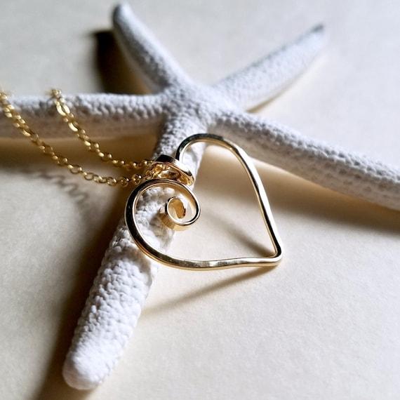 ca118ba1e8b0 Gehämmert Herzhalskette Herz-Ring-Halter-Halskette Spirale   Etsy