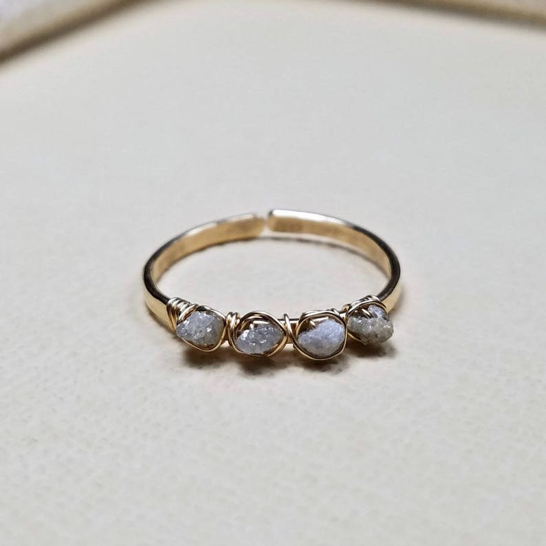 Not For Every Day Use Raw Diamond Uncut Diamond Ring: Delicate Stacking Diamond Ring Rough Diamond Ring Minimalist Diamond Ring