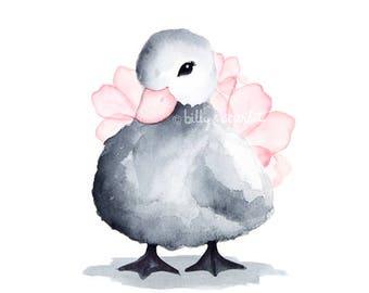 Watercolor Nursery Art Print, Duckling Art Print for Baby Girl Nursery / Girl Nursery Decor - 8x10 / A4 Floral Pink & Gray Duck Print
