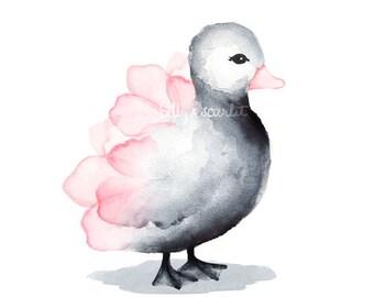 Nursery Decor for Baby Girl - Duckling Art Print for Girl Nursery, Baby Girls Room Decor - 8x10 / A4 Floral Pink/Gray Duck Nursery Art Print