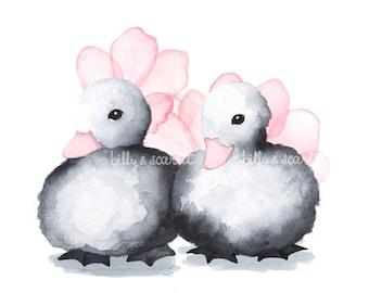 Twin Girl Newborn Art, Twin Girl Gifts, Twin Girl Nursery Decor, Watercolour Nursery Print with Ducklings and Watercolor Flowers, Pink Theme