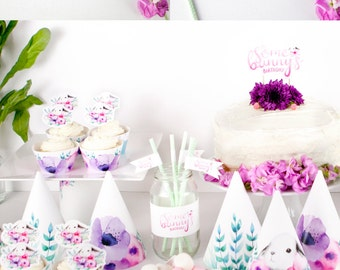 """Bunny Party """"It's Some Bunny's Birthday"""" Printable Party Pack - Watercolour Party Hats, Cake Topper, Straw Flags, Cupcake Wrappers & more"""