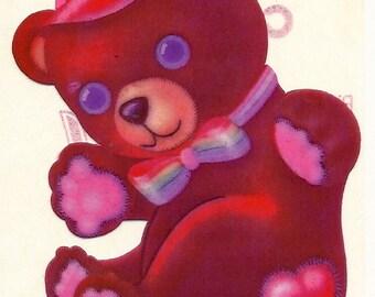 Vintage 80's Lisa Frank Large Rainbow Teddy Bear Sticker