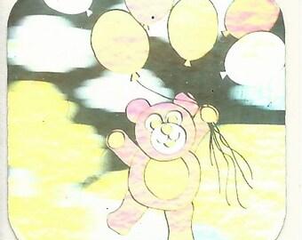 Vintage 80's Teddy Bear Balloons Hologram Sticker