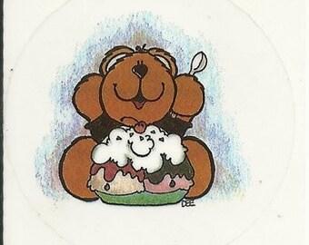 Vintage 80's Transparent Teddy Bear Ice Cream Sundae Sticker