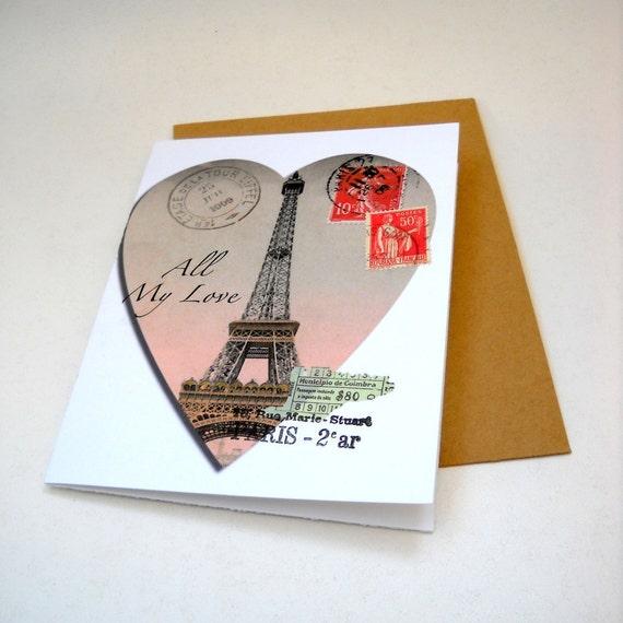 Handmade blank art card with envelope victorian paris postal etsy image 0 reheart Gallery