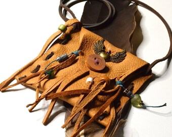 Deerskin Medicine Pouch, Leather Medicine Bag
