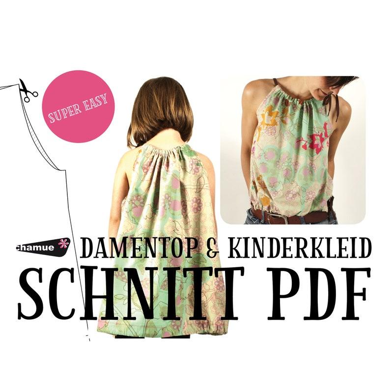 E-Book Schnittmuster Damentop Kinderkleid. 2-in-1 image 0