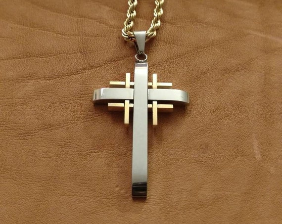 .925 Sterling Silver Laser Designed Latin Cross Charm Pendant