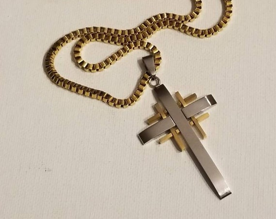 Sterling Silver Anti-Tarnish Treated Laser Designed Cross Charm on an Adjustable Chain Necklace
