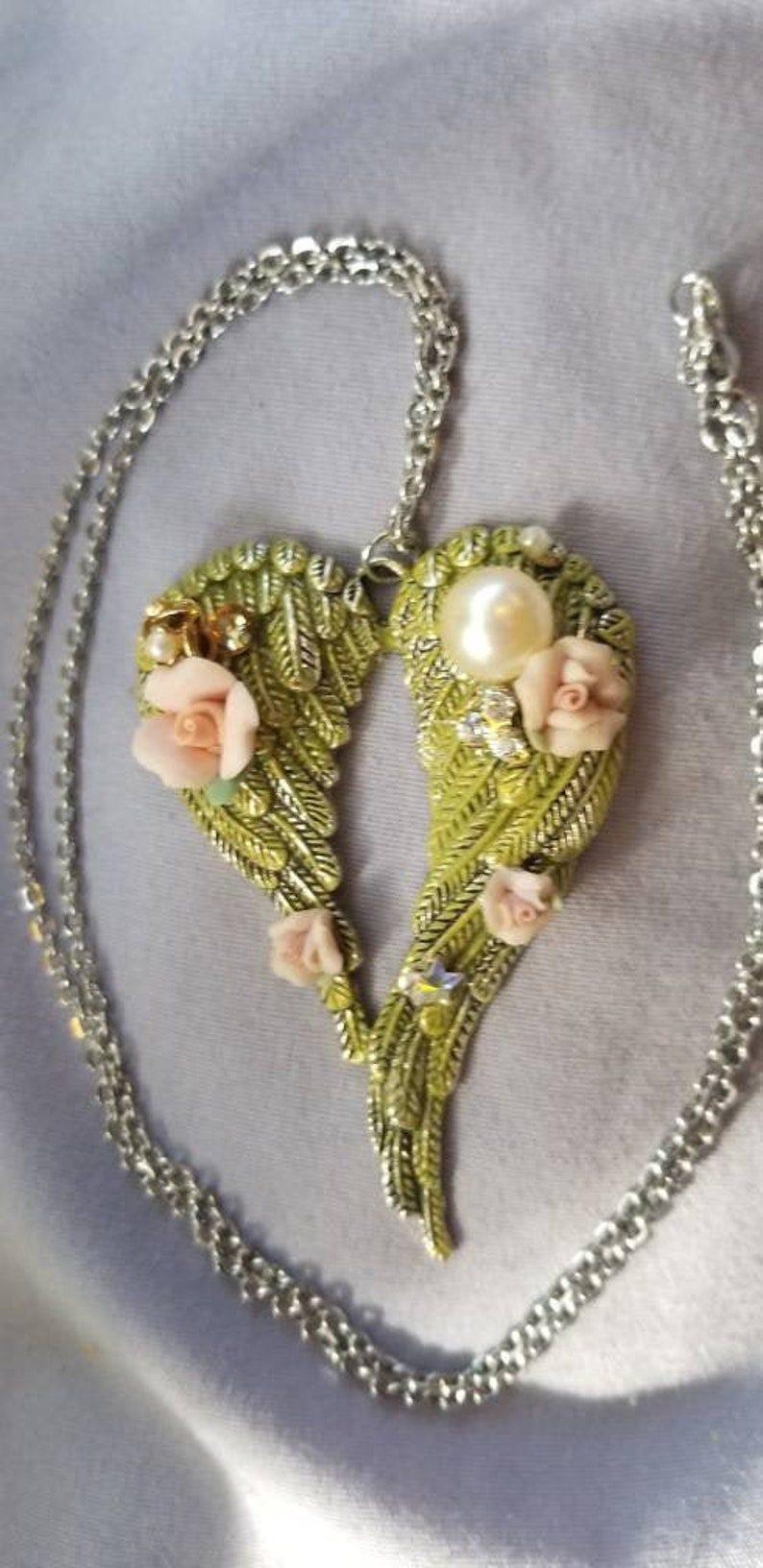Rhinestone Embellishments Romantic Angel Wings Necklace Pearl Moss Patina Hand Painted Patina Rose Accents Stainless Steel Chain