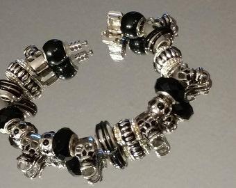 Biker Skull Bracelet, Black and Silver Skull Bracelet, Black Rhinestone Beads, European Bracelet, Gothic, Punk Rocker Bracelet
