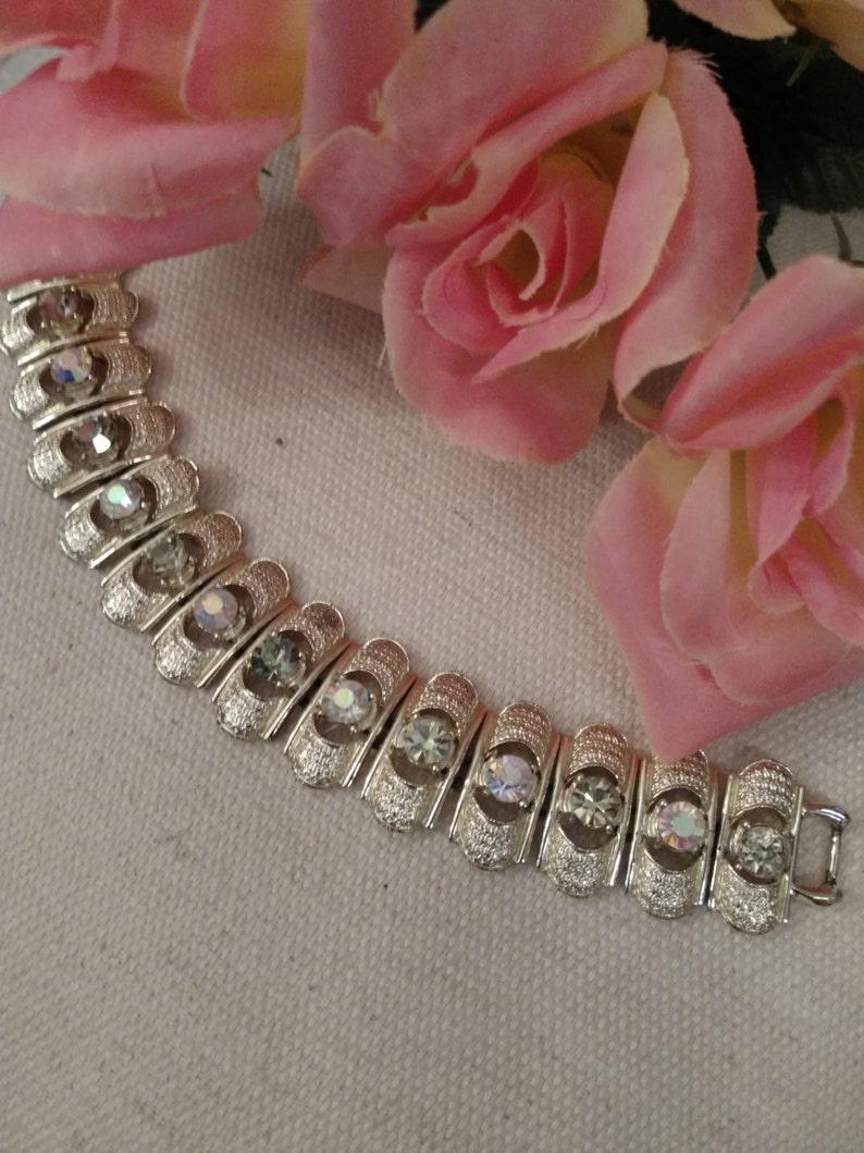 Stamped Light Gold Tone CORO Designer Bracelet Strappy Style Rhinestone Bracelet Aurora Borealis Pale Yellow and AB Stones