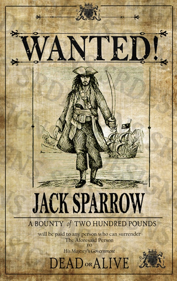 graphic about Printable Wanted Poster identified as PRINTABLE Pirates of the Caribbean Wished-for Poster - Jack Sparrow Poster - Electronic Captain Jack Sparrow Art
