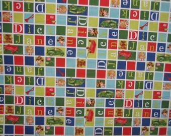 Dick and jane alphabet fabric