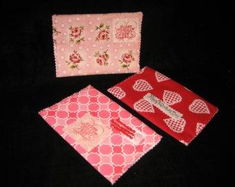 Valentine homemade felt and fabric envelopes ( Set of 3 )
